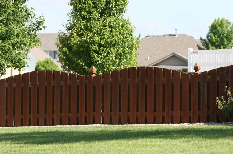 AFC Iowa City - Wood Fencing, 1002 4' overscallop picket stained