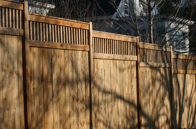 AFC Iowa City - Wood Fencing, 1054 Custom Solid with Accent Top
