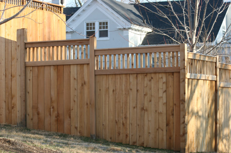 AFC Iowa City - Wood Fencing, 1056 Custom Solid with Accent Top