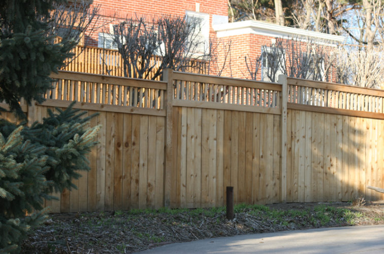 AFC Iowa City - Wood Fencing, 1062 Custom Solid with Accent Top
