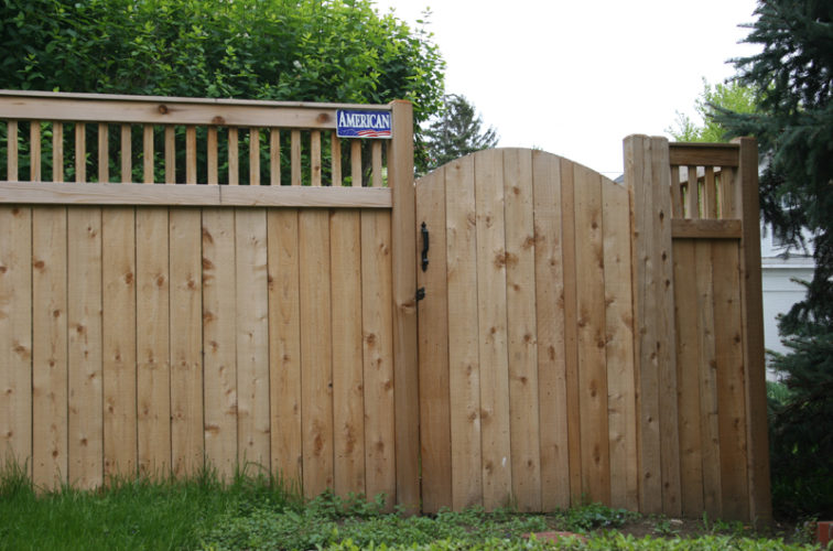 AFC Iowa City - Wood Fencing, 1065 Custom Solid with Accent Top Gate