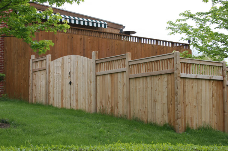 AFC Iowa City - Wood Fencing, 1066 Custom Solid with Accent Top Gate