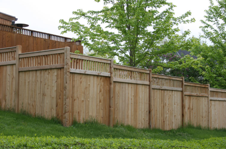 AFC Iowa City - Wood Fencing, 1067 Custom Solid with Accent Top