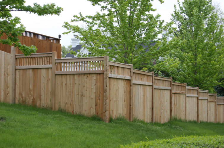 AFC Iowa City - Wood Fencing, 1068 Custom Solid with Accent Top