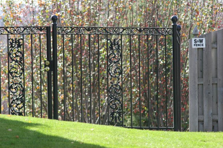 AFC Iowa City - Custom Iron Gate Fencing, 1209 Ornamental Iron gate with Scroll