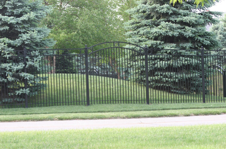 AFC Iowa City - Custom Iron Gate Fencing, 1211 Overscallop panel with rings