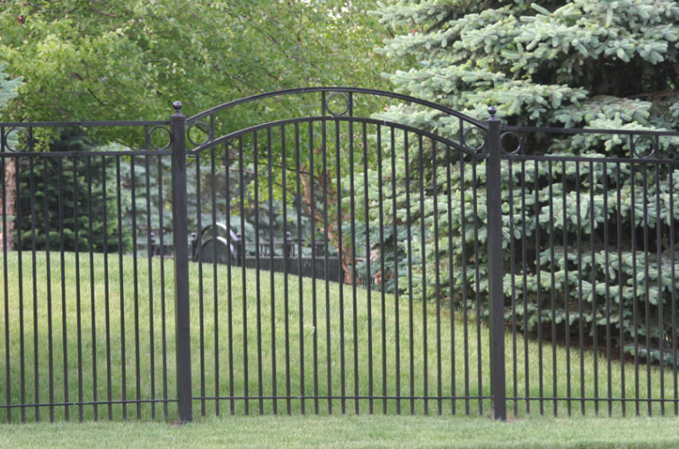 AFC Iowa City - Custom Iron Gate Fencing, 1212 Overscallop panel with rings