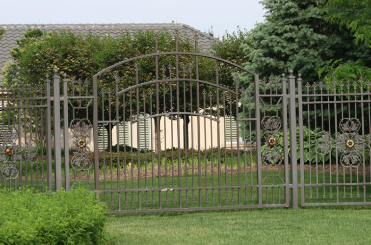 AFC Iowa City - Custom Iron Gate Fencing, 1213 Overscallop panel with scroll work