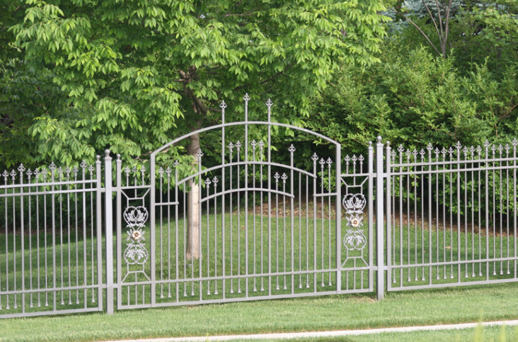 AFC Iowa City - Custom Iron Gate Fencing, 1214 Overscallop panel with scroll work