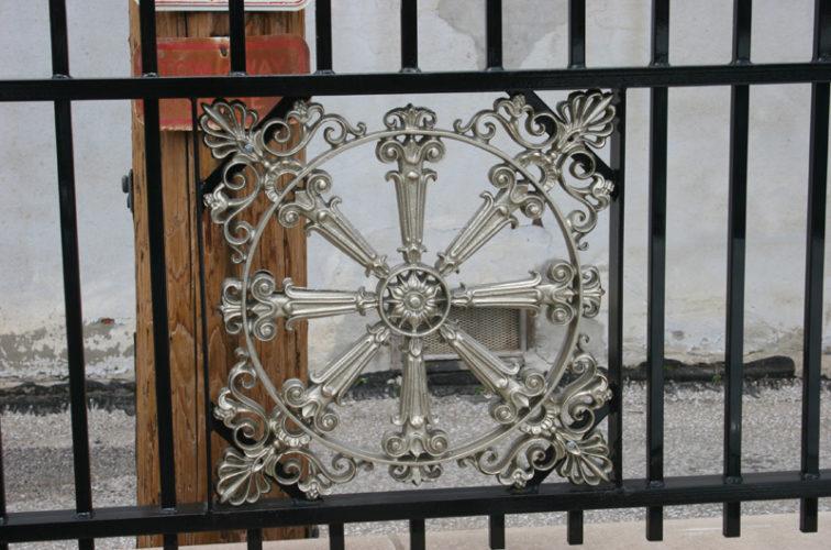 AFC Iowa City - Custom Iron Gate Fencing, 1227 Emblem in Overscallop Ornamental