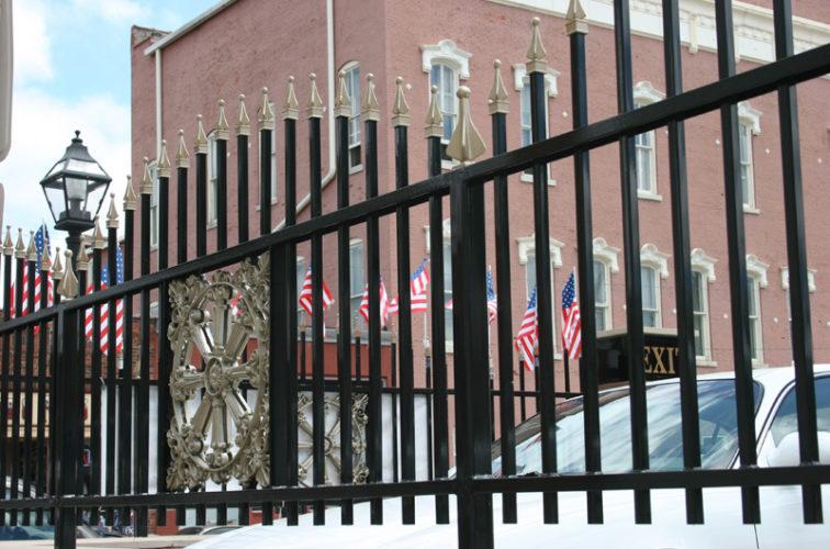 AFC Iowa City - Custom Iron Gate Fencing, l1228 Overscallop Ornamental with Quad Flare
