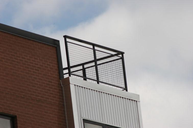 AFC Iowa City - Custom Railing, 2201 Railing with mesh infill