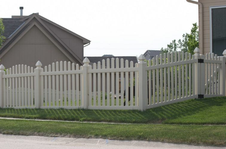 AFC Iowa City - Vinyl Fencing, 4' Overscalloped Pickets PVC with French Gothic Post Caps - AFC - IA
