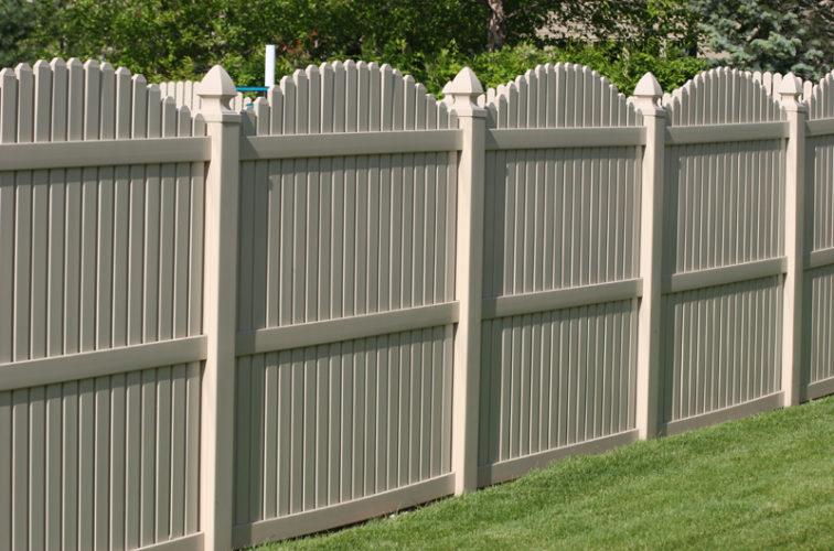 AFC Iowa City - Vinyl Fencing, 6' overscallop picket tan 555