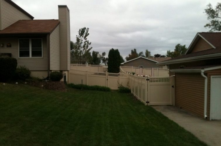 AFC Iowa City - Vinyl Fencing, 6' Tan Solid PVC with Accent - AFC - IA