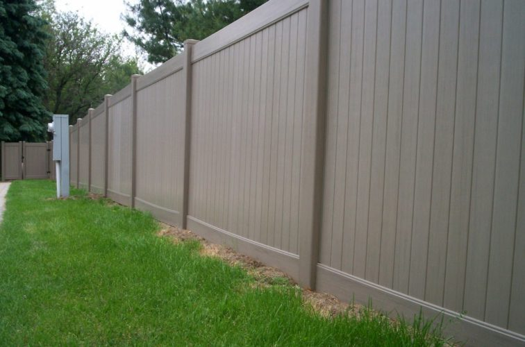 AFC Iowa City - Vinyl Fencing, 6' Woodland Select Weathered Cedar Solid Privacy - AFC - IA