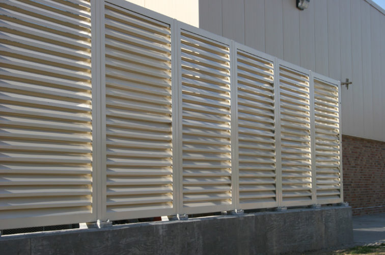 AFC Iowa City - Louvered Fence Systems Fencing, Louvered Fence Panel System In Tan