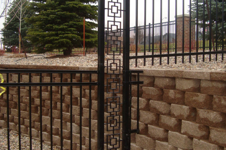 AFC Iowa City - Custom Iron Gate Fencing, Retaining Wall Transition AFC, SD