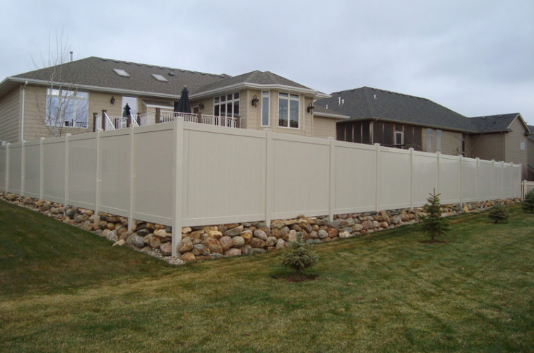AFC Iowa City - Vinyl Fencing, Solid Privacy - Sandstone