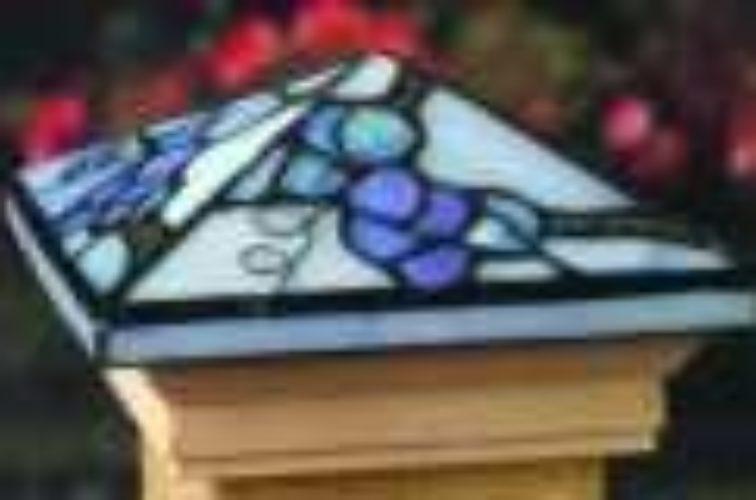 AFC Iowa City - Accessories, Grape Tiffany Style Cedar Wood Fence Post Cap