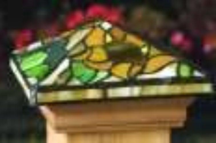 AFC Iowa City - Accessories, Tiffany style Cedar wood Fence Post Cap